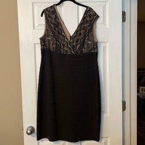 EUC Adrianna Papell Black Lace Cocktail Dress 18W